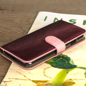 The Hansmare Calf Wallet Case in wine pink for the iPhone 7 provides exceptional protection in a slim and sleek package. The interior of the case features a genuine leather pocket with slots for your cards and document.