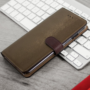 Funda iPhone 7 Plus Hansmare Calf Estilo Cartera - Marrón Dorada