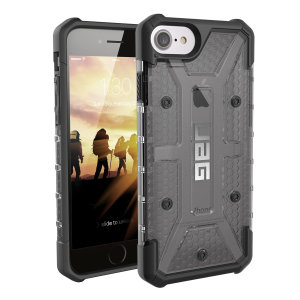 The Urban Armour Gear Plasma semi-transparent tough case in Ash grey and black for the iPhone 8 / 7 features a protective case with a brushed metal UAG logo insert for an amazing rugged and stylish design.