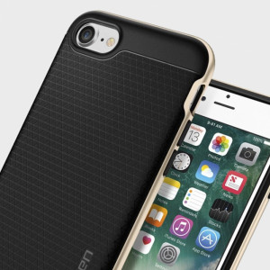 The Spigen Neo Hybrid in champagne gold is the new leader in lightweight protective cases. Spigen's new Air Cushion Technology reduces the thickness of the case while providing optimal corner protection for your Apple iPhone 7.