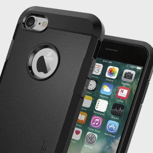 The Spigen Tough Armor Case in black is the quintessential protective case for the iPhone 8 / 7, with a tried and trusted design that provides superb impact absorption due to Spigen's air cushion technology.