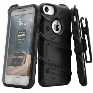 Equip your Apple iPhone 7 with military grade protection and superb functionality with the ultra-rugged Bolt case in black from Zizo. Coming complete with a handy belt clip and integrated kickstand.