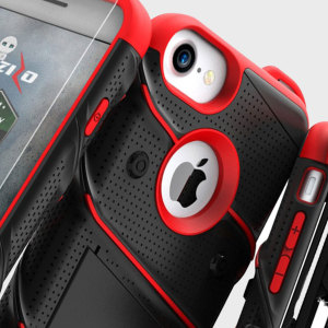Equip your Apple iPhone 8 / 7 with military grade protection and superb functionality with the ultra-rugged Bolt case in black and red from Zizo. Coming complete with a handy belt clip and integrated kickstand.