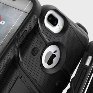 Equip your Apple iPhone 7 Plus with military grade protection and superb functionality with the ultra-rugged Bolt case in black from Zizo. Coming complete with a handy belt clip and integrated kickstand.
