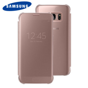 Clear View Cover Officielle Samsung Galaxy S7 – Or Rose