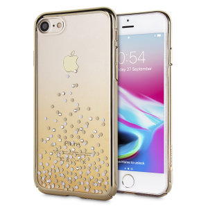 The unique polka 360 case in champagne gold and clear is designed to provide a stylish complement to your iPhone 8 / 7. Featuring robust polycarbonate construction, anti-scratch coating and a blended spray design encrusted with Swarovski crystals.
