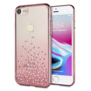 The unique polka dot case in rose gold and clear is designed to provide a stylish complement to your iPhone 8. Featuring robust polycarbonate construction, anti-scratch coating and a blended spray design encrusted with Swarovski crystals.