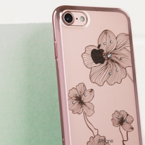 The Crystal Flora 360 case in rose gold and clear is designed to provide a stylish complement to your iPhone 8 / 7. Featuring robust polycarbonate construction, anti-scratch coating and a floral design encrusted with Swarovski crystals.