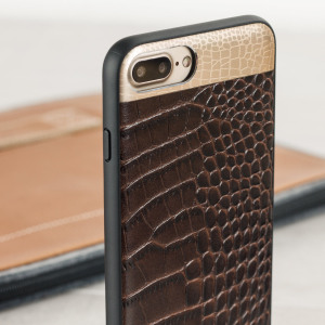 This crocodile inspired genuine leather case in brown, adds a touch of sophistication to your iPhone 8 Plus / 7 Plus, while also providing great protection.