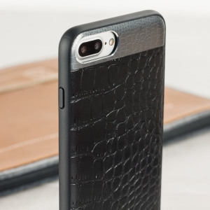 This crocodile inspired genuine leather case in black, adds a touch of sophistication to your iPhone 8 Plus / 7 Plus, while also providing great protection.