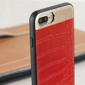 Coque iPhone 7 Plus CROCO2 Cuir Véritable - Rouge