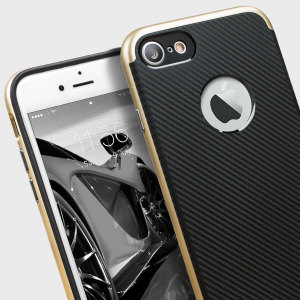 Hybrid layers of robust TPU and hardened polycarbonate with a premium matte finish non-slip carbon fibre design, the Olixar X-Duo case in black and gold keeps your iPhone 7 safe, sleek and stylish.