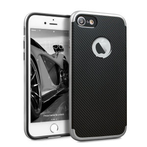 Hybrid layers of robust TPU and hardened polycarbonate with a premium matte finish non-slip carbon fibre design, the Olixar X-Duo case in black and silver keeps your iPhone 7 safe, sleek and stylish.