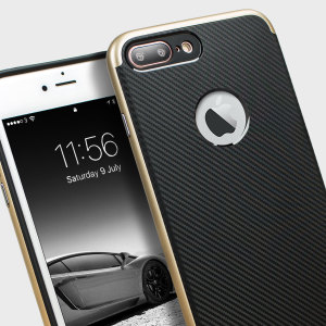 Coque iPhone 7 Plus Olixar X-Duo – Fibres de carbone métallique Or