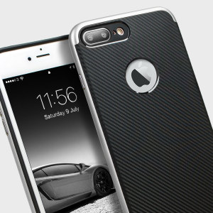 Coque iPhone 7 Plus Olixar X-Duo – Fibres de carbone métallique Argent