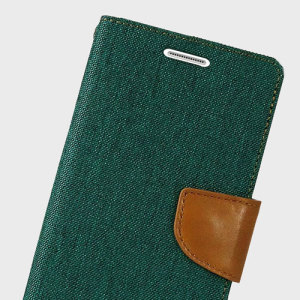 With the perfect blend of lightweight and tough materials, mixed with snappy looks, this green and camel Mercury Canvas Diary Wallet Case is the ideal companion for your Samsung Galaxy S6 - Especially when you're out and about.