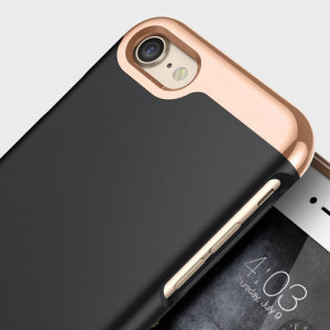 Made from robust smooth finish sliding components and featuring an eye-catching matte and metallic design, the Savoy Series slider case in black keeps your iPhone 8 / 7 safe, sleek and stylish.