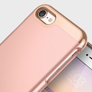 Made from robust smooth finish sliding components and featuring an eye-catching matte and metallic design, the Savoy Series slider case in rose gold keeps your iPhone 8 / 7 safe, sleek and stylish.