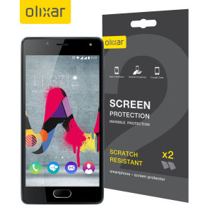 Keep your Wiko U Feel Lite screen in pristine condition with this Olixar scratch-resistant screen protector 2-in-1 pack.