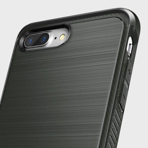 Provide your iPhone 7 Plus with slim yet heavy duty protection with this smooth finish grey Ringke dual-layered Onyx case. The design and soft touch finish preserve the aesthetic and feel of your phone.