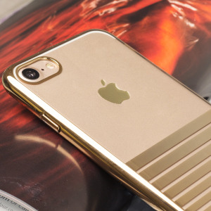 The Olixar Melody case in Gold is designed to provide a stylish complement to your iPhone 8 / 7. Featuring robust polycarbonate construction, anti-scratch coating and metallic laser-etched stripes.