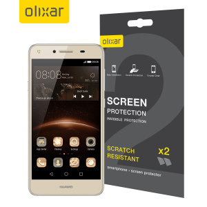 Keep your Huawei Y5II screen in pristine condition with this Olixar scratch-resistant screen protector 2-in-1 pack.