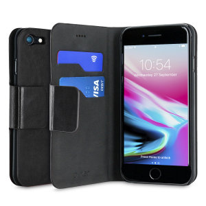 Protect your iPhone 8 with this durable and stylish black leather-style wallet case from Olixar, featuring two card slots. What's more, this case transforms into a handy stand to view media.