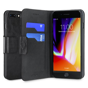 Protect your iPhone 8 Plus / 7 Plus with this durable and stylish black leather-style wallet case from Olixar, featuring two card slots. What's more, this case transforms into a handy stand to view media.