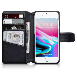 A sophisticated lightweight black genuine leather case with a magnetic fastener. The Olixar genuine leather wallet case offers perfect protection for your iPhone 8 / 7, as well as featuring slots for your cards, cash and documents.