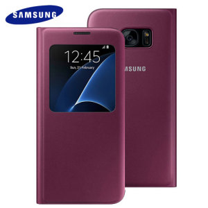 Ideal for checking the time or screening and answering incoming calls without opening the case. This ruby wine official Samsung S View Cover for the Samsung Galaxy S7 Edge is slim and stylish.