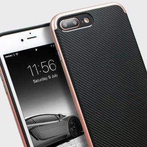 Hybrid layers of robust TPU and hardened polycarbonate with a premium matte finish non-slip carbon fibre design, the Olixar X-Duo case in black and rose gold keeps your iPhone 7 Plus safe, sleek and stylish.