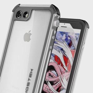 Omsluit je iPhone 7 met de meest extreme en duurzame bescherming beschikbaar! De gouden en doorzichtige Ghostek Atomic 3.0 is compleet waterdicht en biedt robuste val bescherming met zijn HD krasbestendige screen protector.