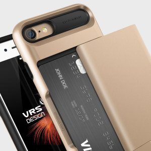 Protect your iPhone 7 with this precisely designed case in gold from VRS Design. Made with tough yet slim material, this hardshell construction with soft core features patented sliding technology to store two credit cards or ID.