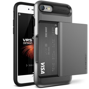 Protect your iPhone 8 / 7 with this precisely designed case in steel silver from VRS Design. Made with tough yet slim material, this hardshell construction with soft core features patented sliding technology to store two credit cards or ID.