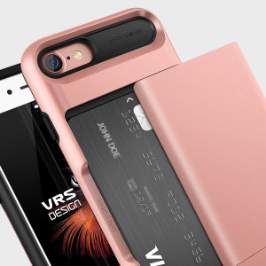 Protect your iPhone 8 / 7 with this precisely designed case in rose gold from VRS Design. Made with tough yet slim material, this hardshell construction with soft core features patented sliding technology to store two credit cards or ID.