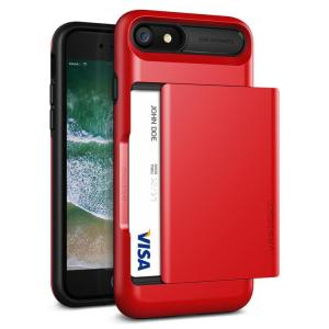 Protect your iPhone 8 / 7 with this precisely designed case in Apple Red from VRS Design. Made with tough yet slim material, this hardshell construction with soft core features patented sliding technology to store two credit cards or ID.