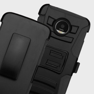 Equip your Motorola Moto Z Force with military grade protection and superb functionality with the ultra-rugged Combo case in black from Zizo. Coming complete with a handy belt clip / kickstand, this case is the perfect companion for your Moto Z Force.