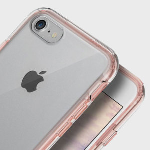 Keep your iPhone 7 protected from damage with the durable and attractive clear and rose gold polycarbonate shell case from Obliq. Features a handy and convenient kickstand so you can view your screen in total comfort.