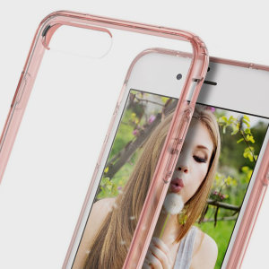 Keep your iPhone 7 Plus protected from damage with the durable and attractive clear and rose gold polycarbonate shell case from Obliq.
