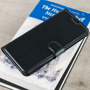 Protect your ZTE Axon 7 with this durable and stylish black leather-style wallet case from Olixar, featuring two card slots. What's more, this case transforms into a handy stand to view media.