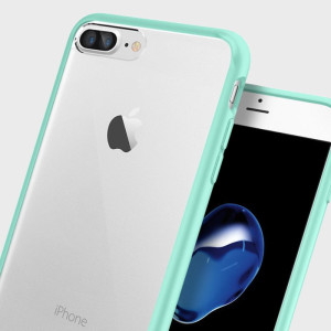 Protect your iPhone 7 Plus with the unique Ultra Hybrid mint green bumper from Spigen. Complete with a clear back and air cushion technology to show of and protect your iPhone's sleek modern design.