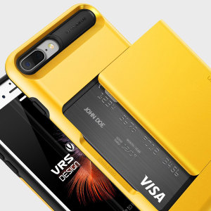 Protect your iPhone 7 Plus with this precisely designed case in yellow from VRS Design. Made with tough yet slim material, this hardshell construction with soft core features patented sliding technology to store two credit cards or ID.