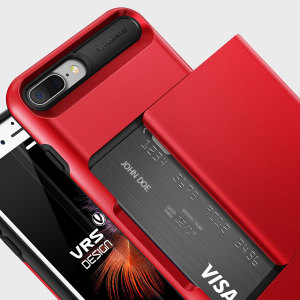 Protect your iPhone 8 Plus / 7 Plus with this precisely designed case in Apple Red from VRS Design. Made with tough yet slim material, this hardshell construction with soft core features patented sliding technology to store two credit cards or ID.