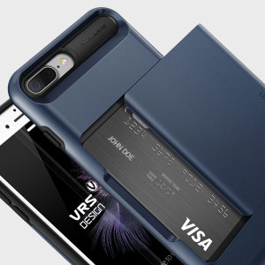 Protect your iPhone 7 Plus with this precisely designed case in Steel Blue from VRS Design. Made with tough yet slim material, this hardshell construction with soft core features patented sliding technology to store two credit cards or ID.