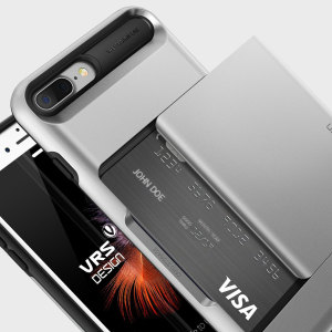 Protect your iPhone 8 Plus / 7 Plus with this precisely designed case in Light Silver from VRS Design. Made with tough yet slim material, this hardshell construction with soft core features patented sliding technology to store two credit cards or ID.