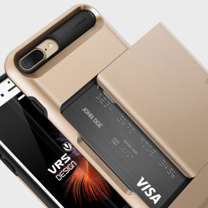 Protect your iPhone 7 Plus with this precisely designed case in gold from VRS Design. Made with tough yet slim material, this hardshell construction with soft core features patented sliding technology to store two credit cards or ID.