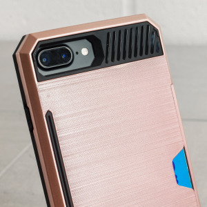 Designed for the iPhone 7 Plus this rose gold dual layered card case from Zizo provides a perfect fit and robust protection against scratches, knocks and drops with the added convenience of credit card-sized slots.
