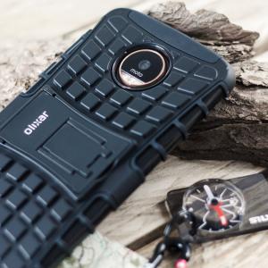 Beskyt din Motorola Moto Z Force mod stød og ridser med dette sorte ArmourDillo-etui fra Olixar. Bestående af et indvendig TPU-etui og et ydre slagfast cover med indbygget display.