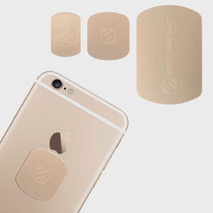 Para usar con la colección MagicMount de Scosche, el MagicPlate de oro es perfecto para combinar con el color de tu iPhone. Con un MagicPlates grande y dos pequeños, es el producto ideal para reemplazar cualquier placa magnética perdida.