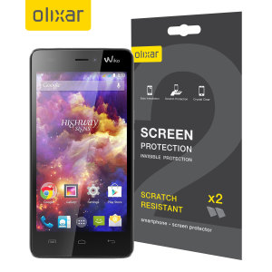 Keep your Wiko Highway Signs's screen in pristine condition with this Olixar scratch-resistant screen protector 2-in-1 pack.